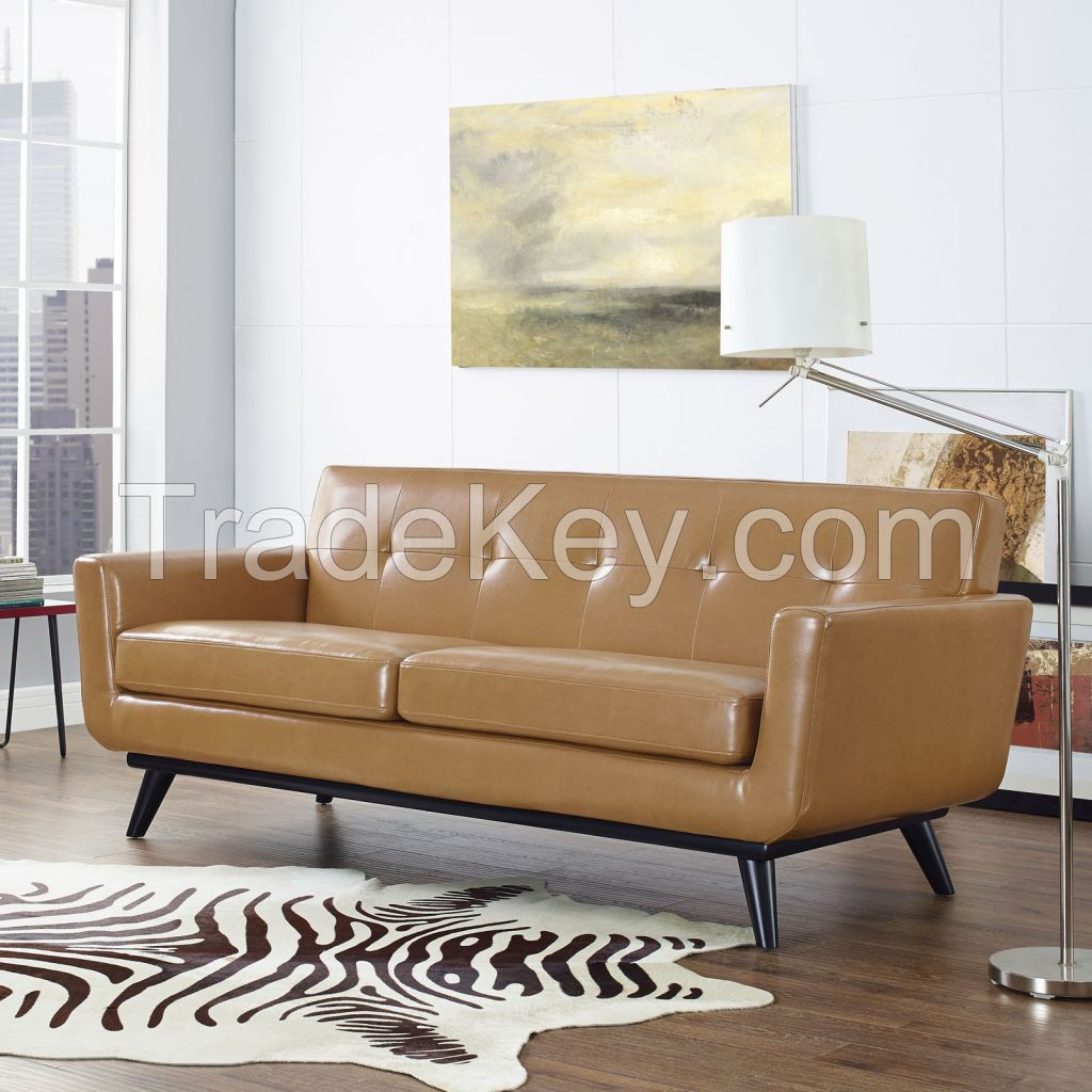 Comfortable Tan Bonded Leather Couch