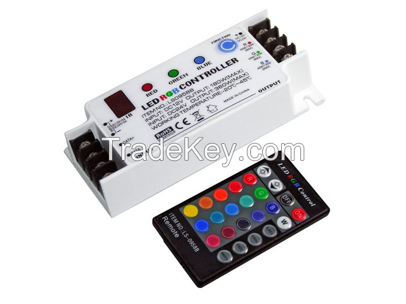 RGB led controller led dimmer IR Remote and Key-pressing control DC12/24V 180W/360W 20Colors changing