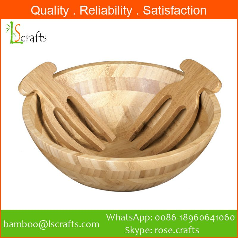 Bamboo Salad Bowl with salad hands