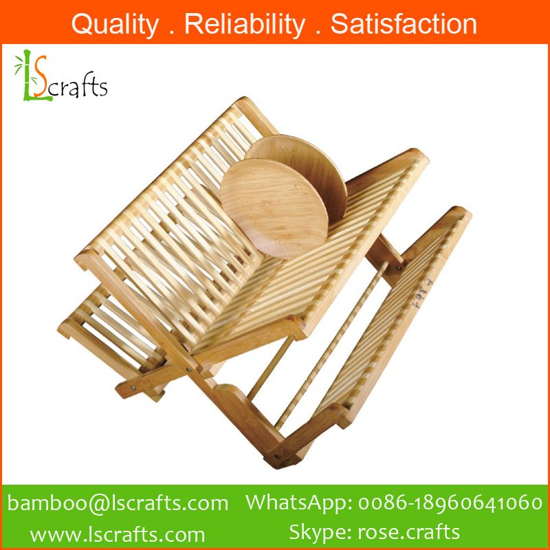 Wholesales Bamboo Folding Dish Racks Plate Racks