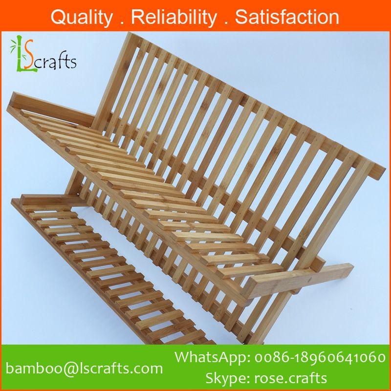 Eco-Freindly  Bamboo Organizer Folding Dish Rack/Holders