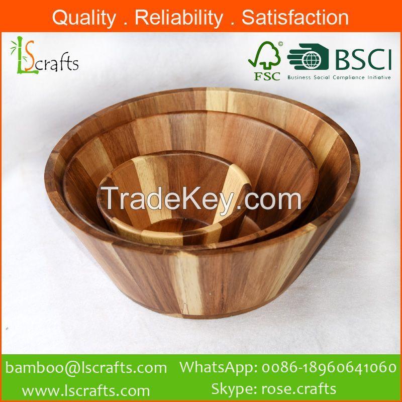 Acacia Wooden Salad Bowl Set-3
