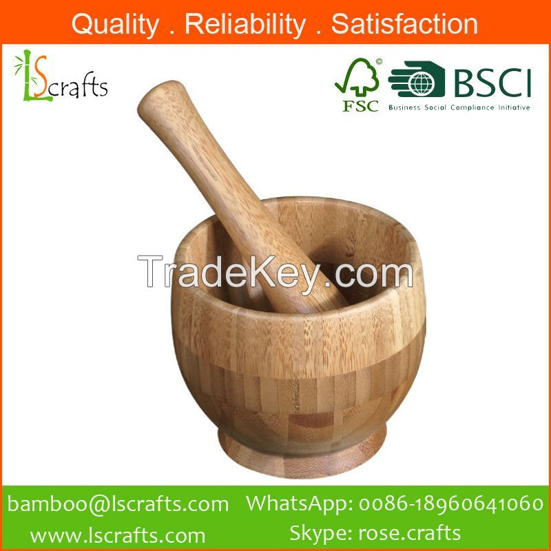 Eco-Freindly Bamboo Mortar and Pestle
