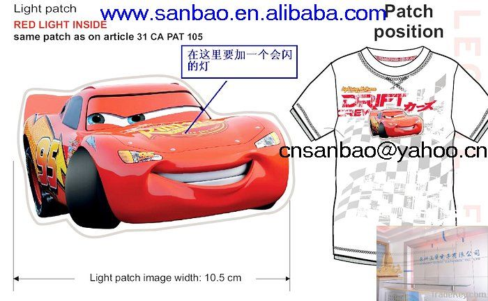 with lighted cartoon pvc patch children tshirt