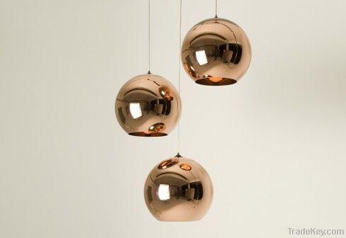 Copper Mirror Ball Pendant Lamp