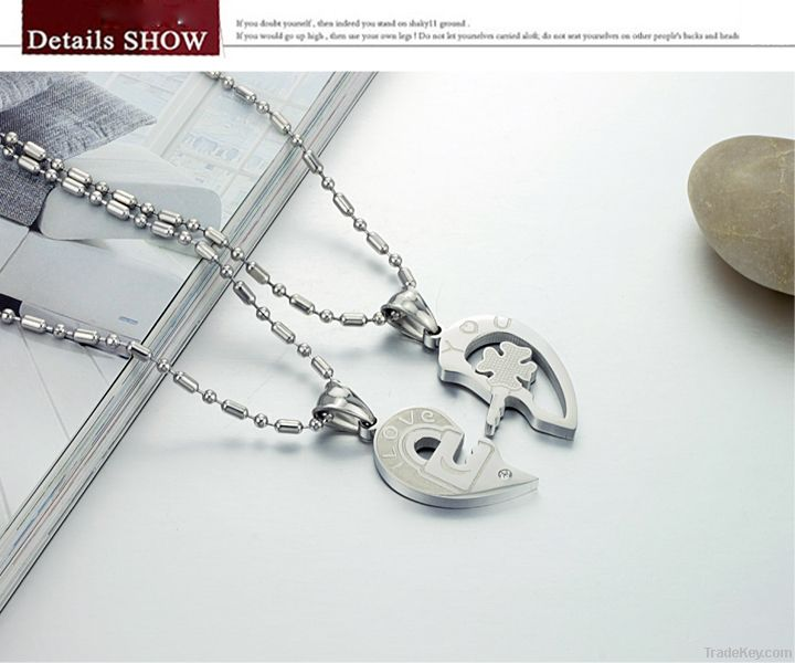 Valentine gift stainless steel jewelry love couple pendant necklaces
