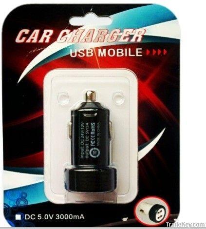 Dual Mini USB Car Charger for Iphone Ipad Ipod Smart Phone