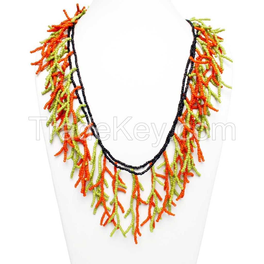 Fresco Glass Seed Bead Neon Strand Necklace