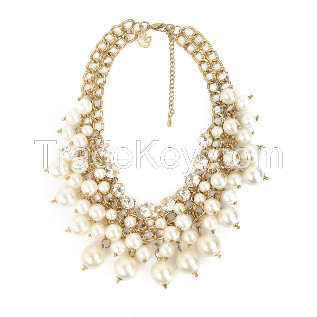 Gold And Shine Metal Pearl Stone Off-White Choker Necklace
