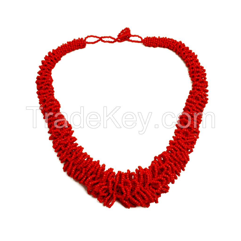 Hot Red Seed Bead Necklace