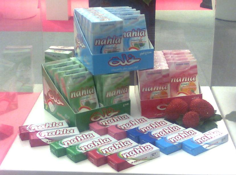 Chewing gum, sugar and sugar free and Center fill