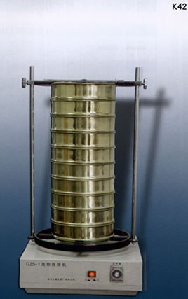 test sieve, sieve shaker, cube mould, measuring cylinder, thermometer