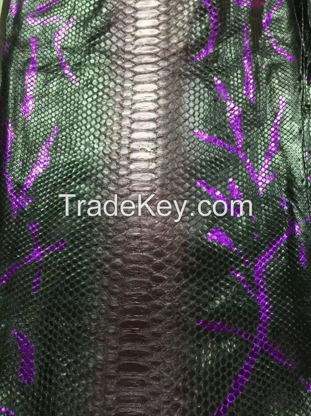 Customize Wholesale Genuine Python Snakeskin Hide Hand Painting Designs