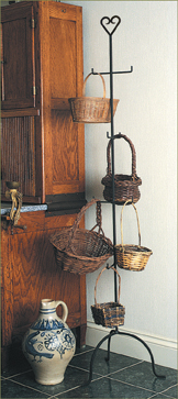 wrought iron basket hanging stand