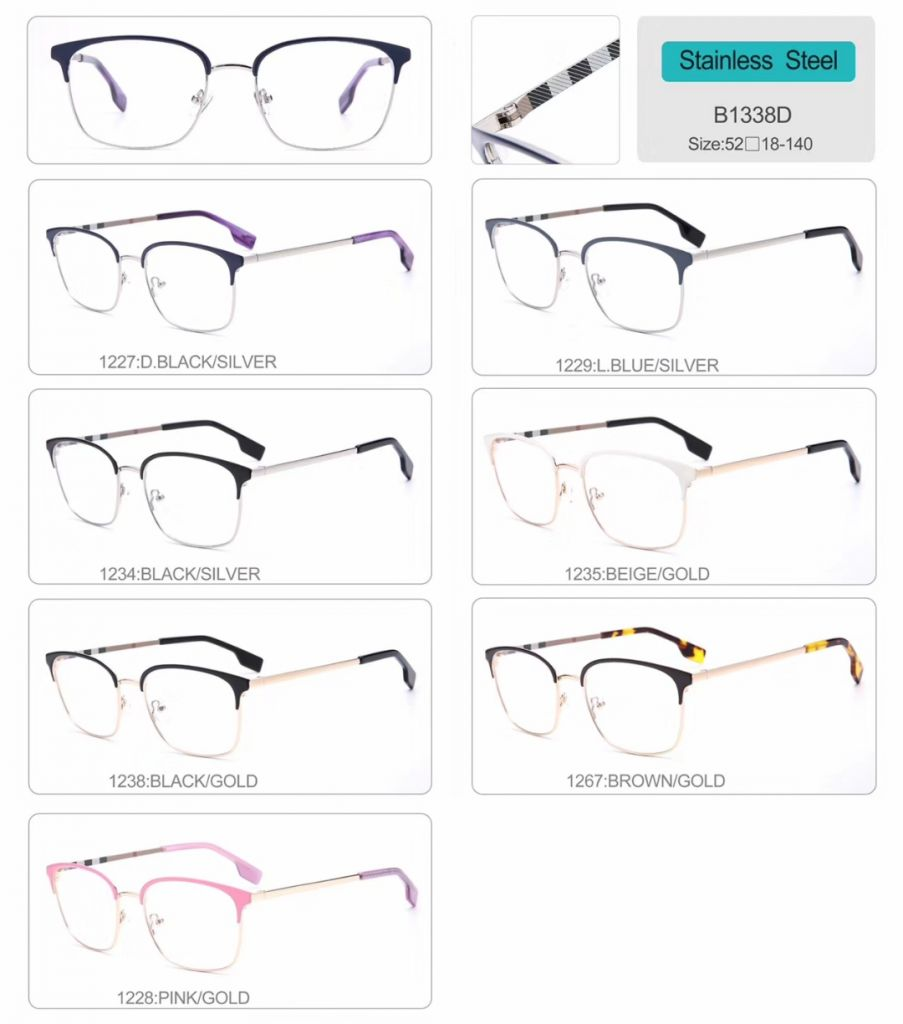 wholesale stainless steel optical frames eyeglasses high quality eyewear B1338D