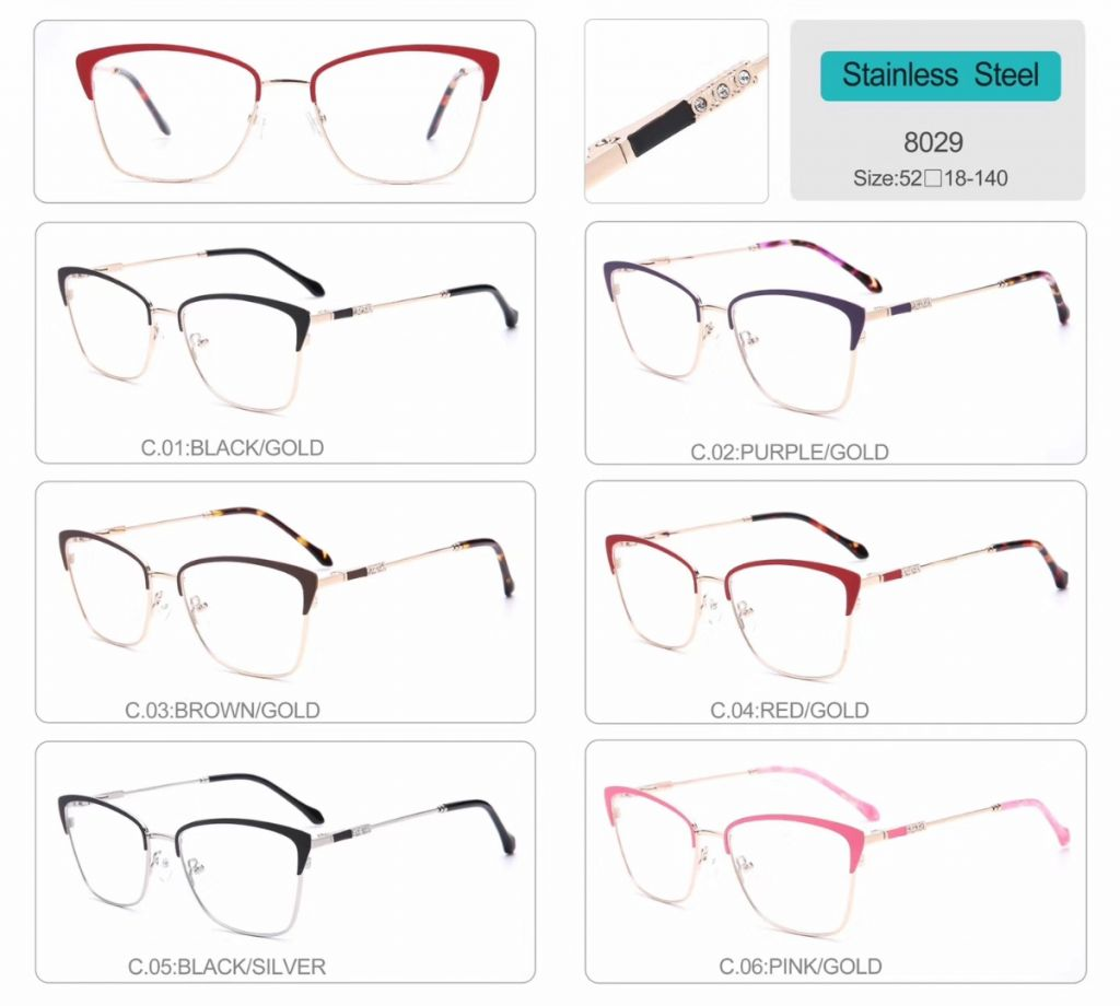 wholesale stainless steel optical frames eyeglasses high quality eyewear 8029