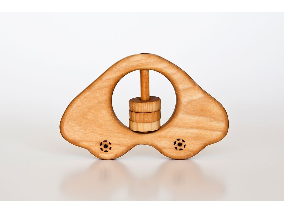 Organic wooden rattle - teether