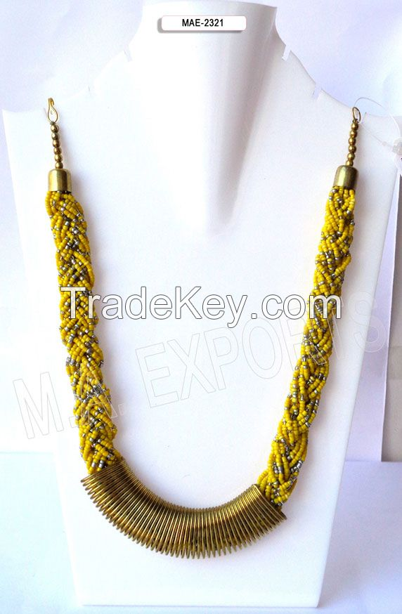 Seed glass bead necklace