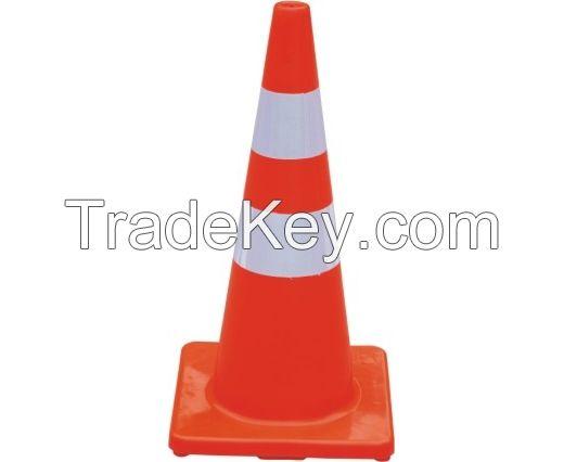 Fluoresent orange PVC road traffic cones with reflective collars 70cm