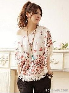 overall/smock/bat-wing sleeves blouse