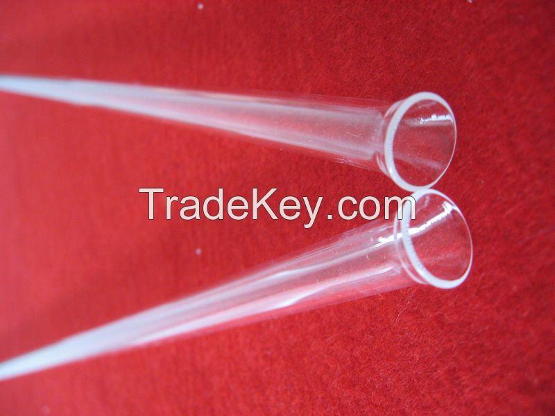 clear custom end clear quartz tube with horn mouth
