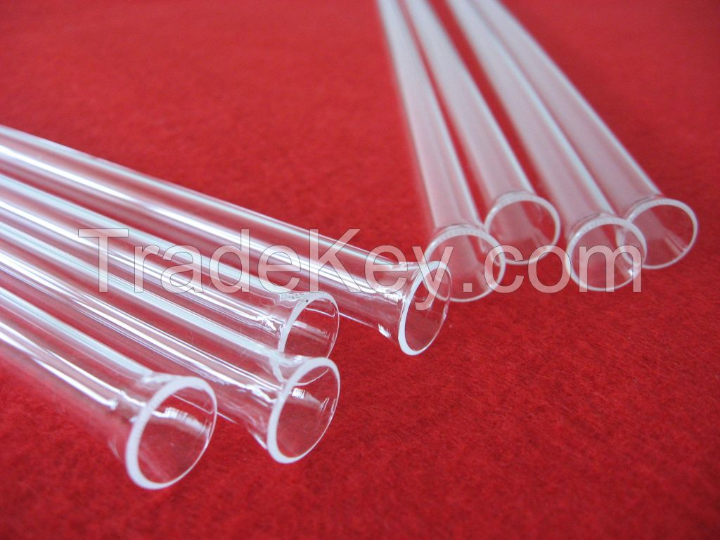 laboratory high fused transparent silica glass tube with bellmouth