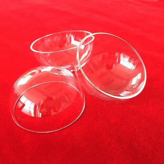 customized hollow hemispherical shape clear quartz glass dome