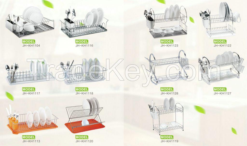 dish rack with plastic tray-fruit basket-utensil rack