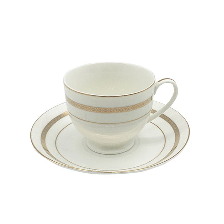ceramic gold rim new bone china coffee mugs porcelain tea cup set with saucer
