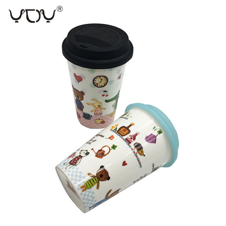 Gift Box Packing Ceramic Double Wall Coffee Travel Mug Cup With Silicone Lid