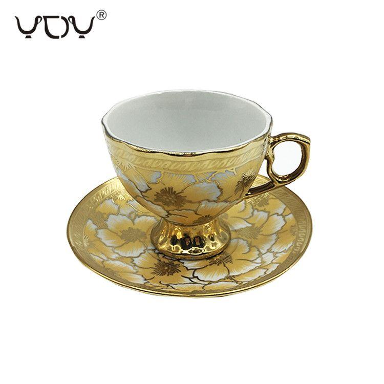 Eletrocplating golden 180cc tea cup and saucer set for  pakistan