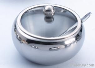stainless steel sugar bowl with glass lid and spoon