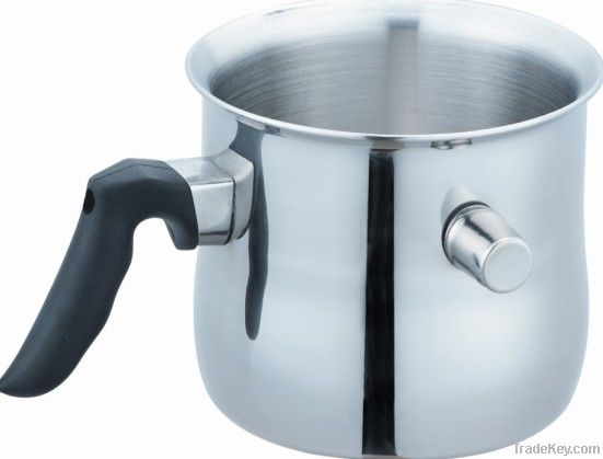 Stainless Steel Double Wall Milk Pot with Whistling