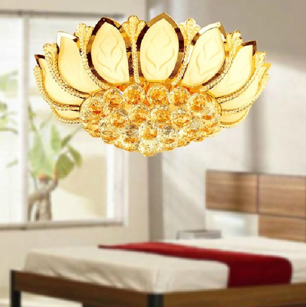 Crystal Ceiling Lamp with shade of lotus, Bedroom Lamp, Living Room Lig
