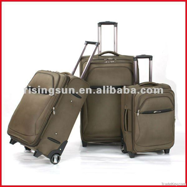 wheeled luggage upright and trolley bag