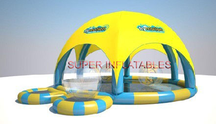 inflatable pool with tent