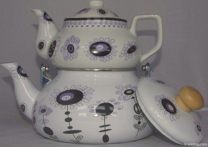 enamel kettle and ceramic teapot set