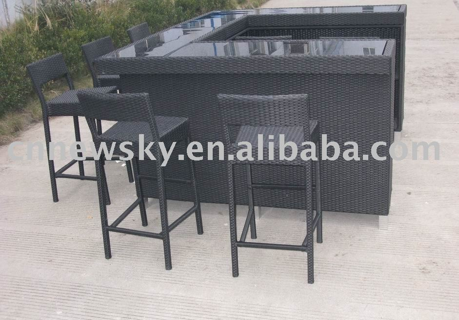 Indoor Outdoor Patio Garden Furniture with Rattan Bar Set