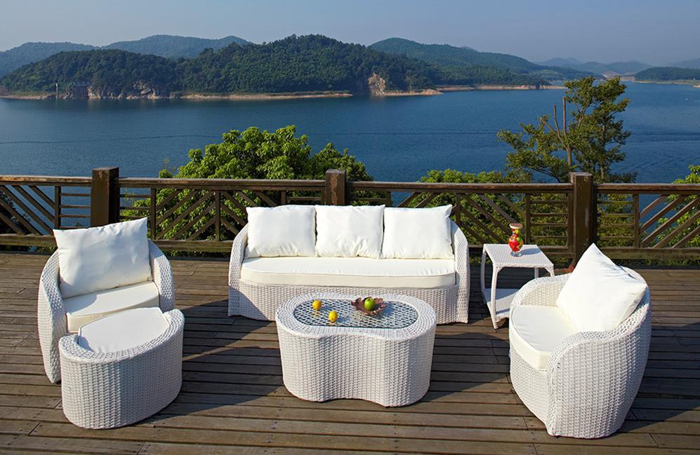 Indoor Outdoor Patio Garden Furniture with Rattan Sofa Set