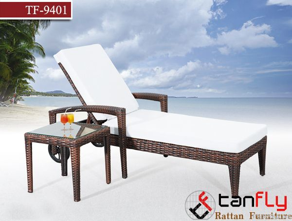 TF9401Patio wicker sun lounger/rattan lounger
