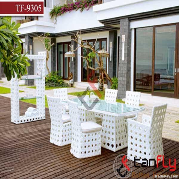 wicker rattan outdoor garden table set