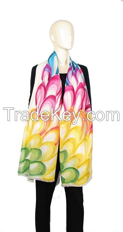 100% cashmere pashmina hand painting, cashmere shawl
