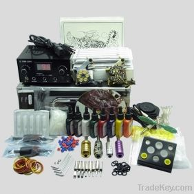 Complete Tattoo Kit 2 Machine Gun color Inks Power supply needles set
