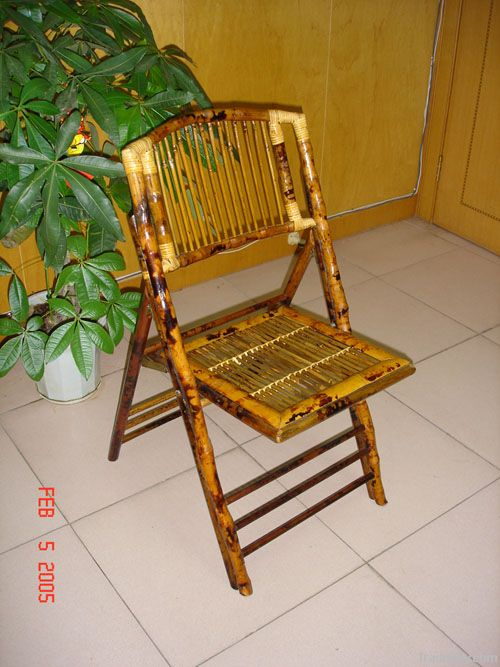 bamboo rattan folding bistro chair