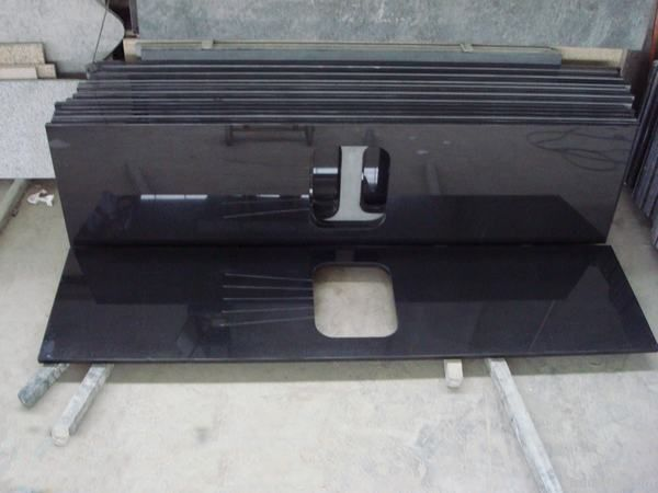 black granite countertop