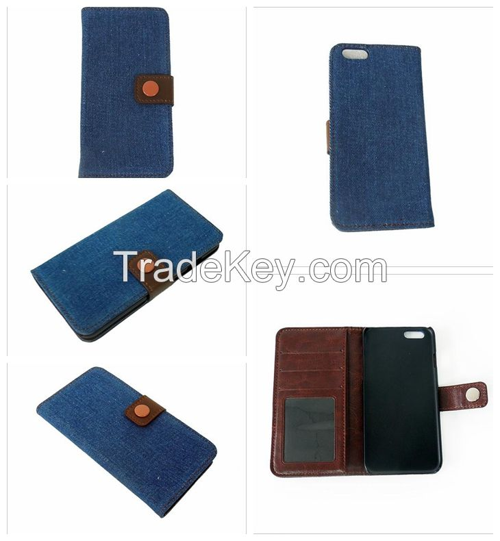 Fashion PU Jeans Cloth Wallet Leather Case Cover For iPhone 6 Hard PC Case - Blue