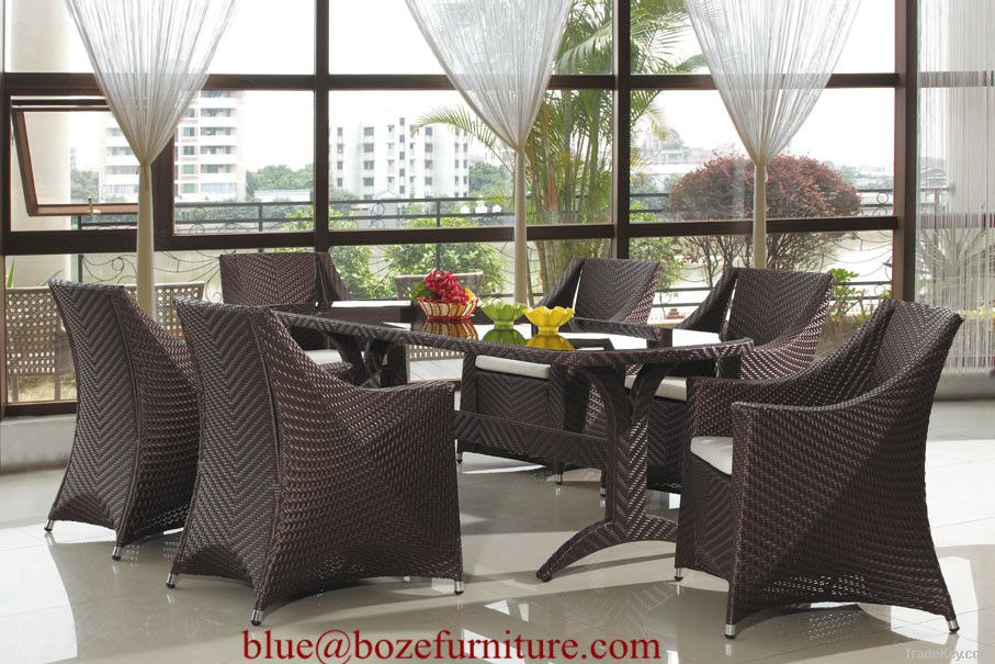 (BZ-D044) Garden Furnitue Wicker Dining Set