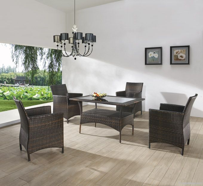 rattan table with grass