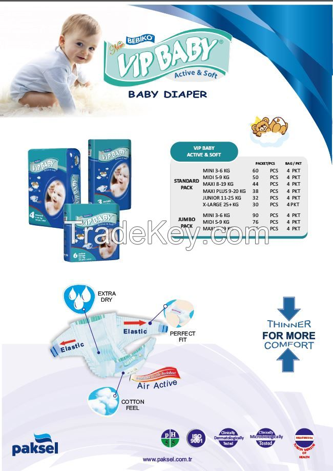 Disposable Baby Diaper - Elasticates Side Tapes Perfect Fit