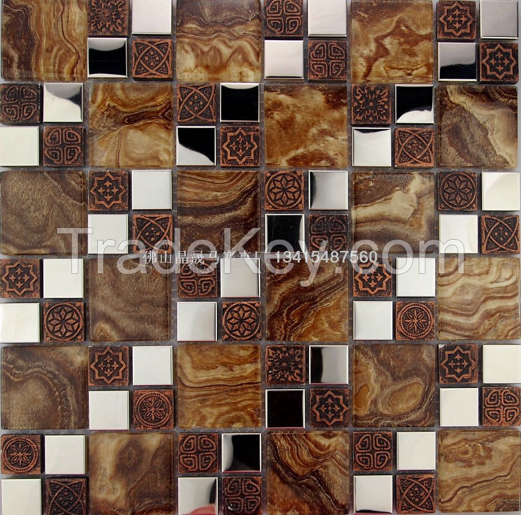 flower glass mosaic tile jsm-834